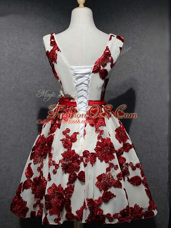 Custom Designed Sleeveless Lace Up Mini Length Lace and Appliques