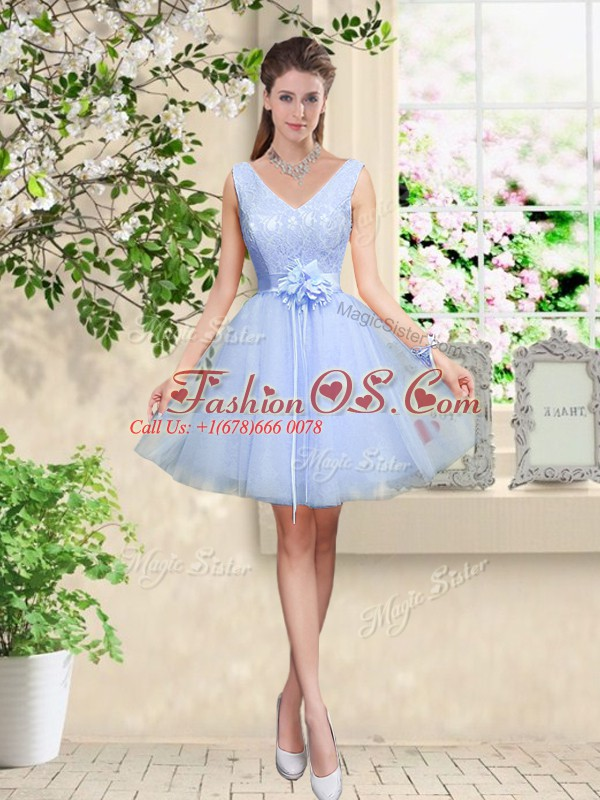 Admirable V-neck Sleeveless Lace Up Dama Dress for Quinceanera Lavender Tulle