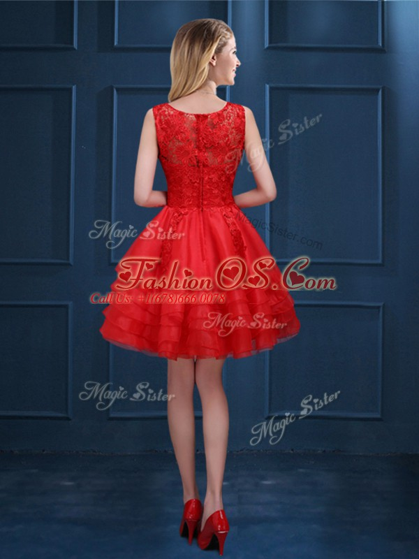 Wonderful A-line Scoop Sleeveless Tulle Knee Length Zipper Lace and Ruffled Layers Wedding Guest Dresses