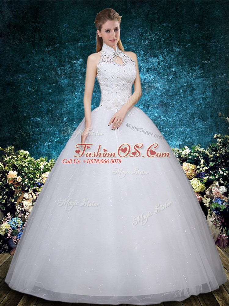 Beauteous Ball Gowns Bridal Gown White High-neck Tulle Sleeveless Floor Length Lace Up