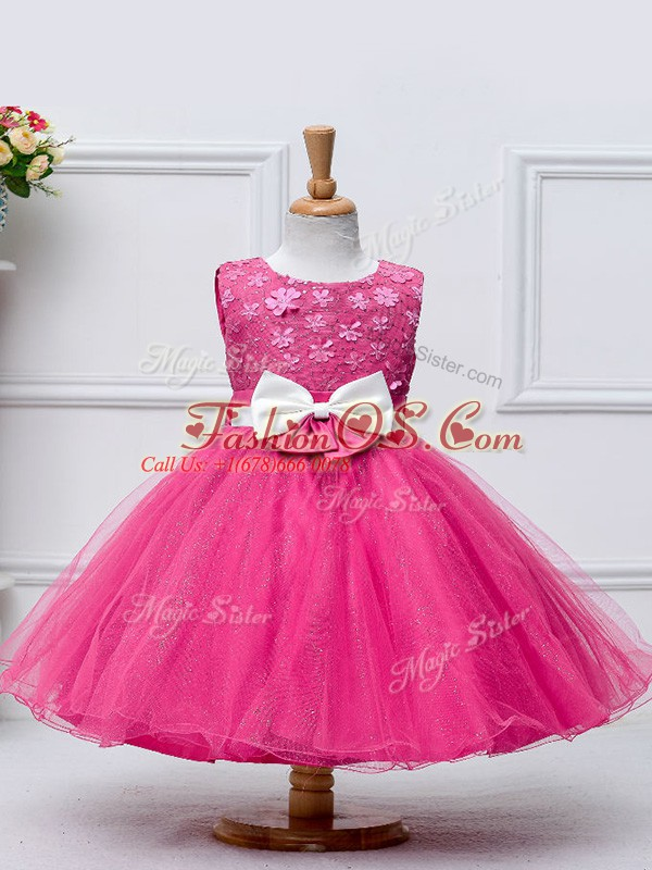 Scoop Sleeveless Child Pageant Dress Knee Length Lace and Bowknot Hot Pink Tulle