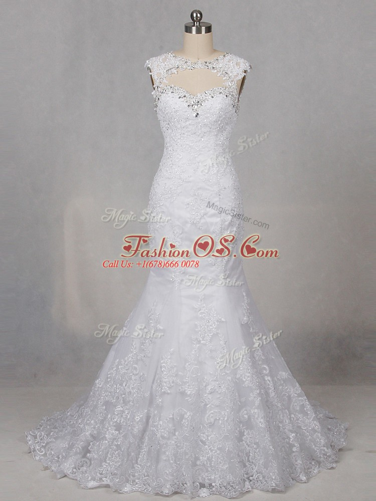 Charming Scoop Sleeveless Tulle Wedding Gowns Beading and Lace Brush Train Backless