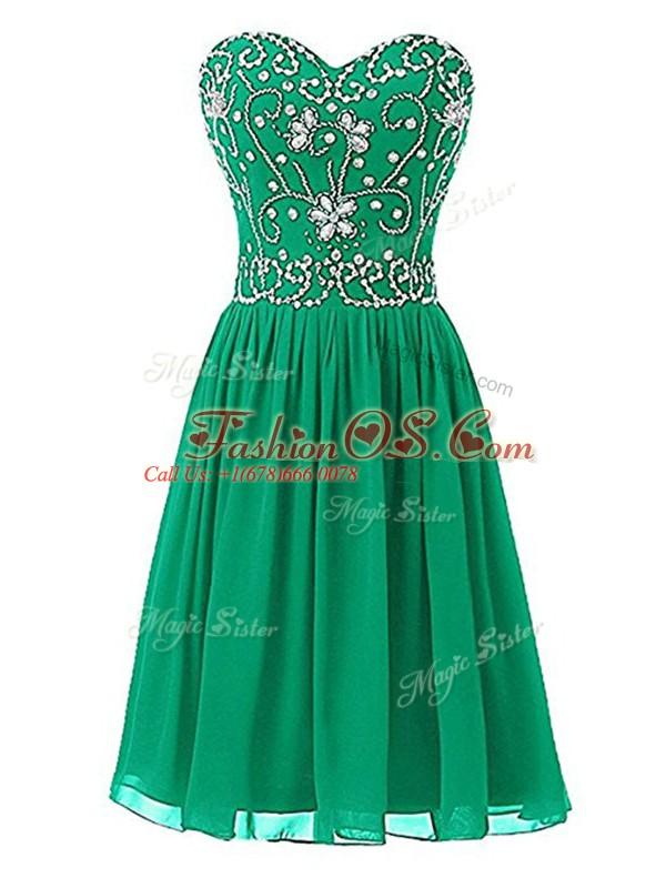 Green Sleeveless Knee Length Beading Zipper Club Wear