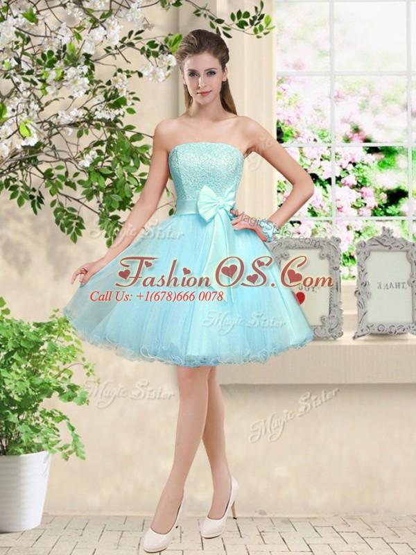 Flirting Aqua Blue Off The Shoulder Lace Up Lace and Belt Dama Dress Sleeveless