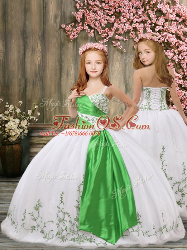 Gorgeous White Ball Gowns Straps Sleeveless Organza Floor Length Lace Up Embroidery and Belt Little Girl Pageant Gowns