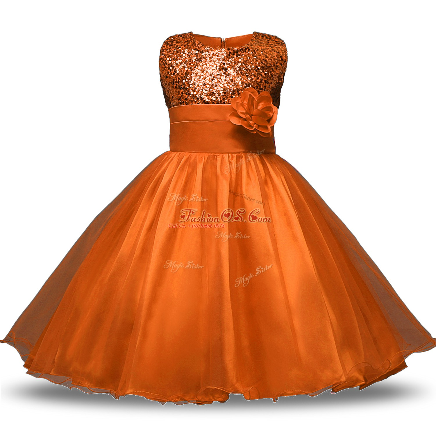 Rust Red Zipper Flower Girl Dresses for Less Belt and Hand Made Flower Sleeveless Knee Length