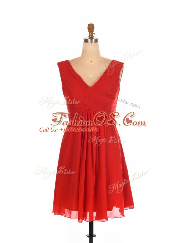 Flare Mini Length Red Dama Dress for Quinceanera Chiffon Sleeveless Ruching