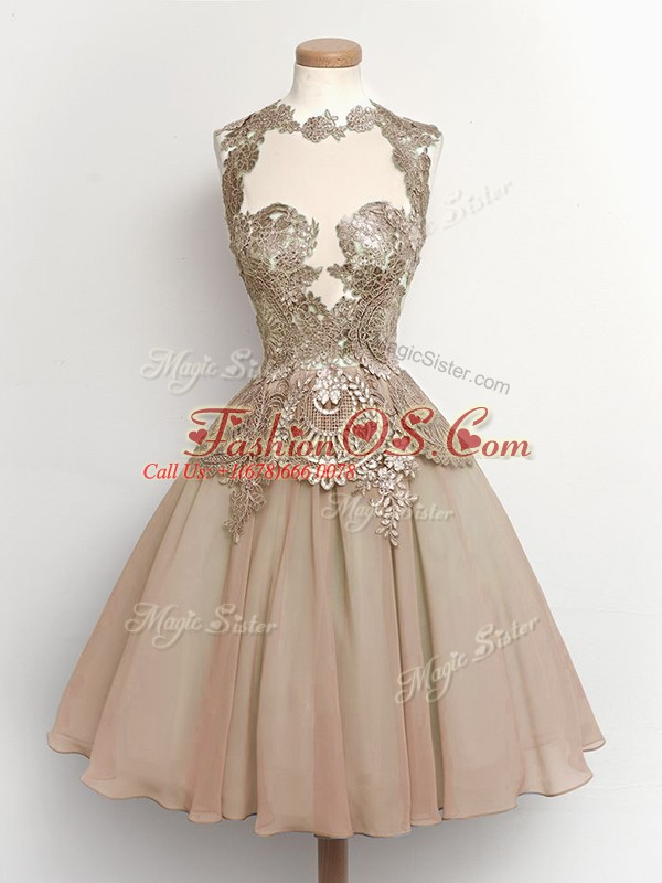 Pretty Brown Lace Up High-neck Lace Bridesmaid Dresses Chiffon Sleeveless