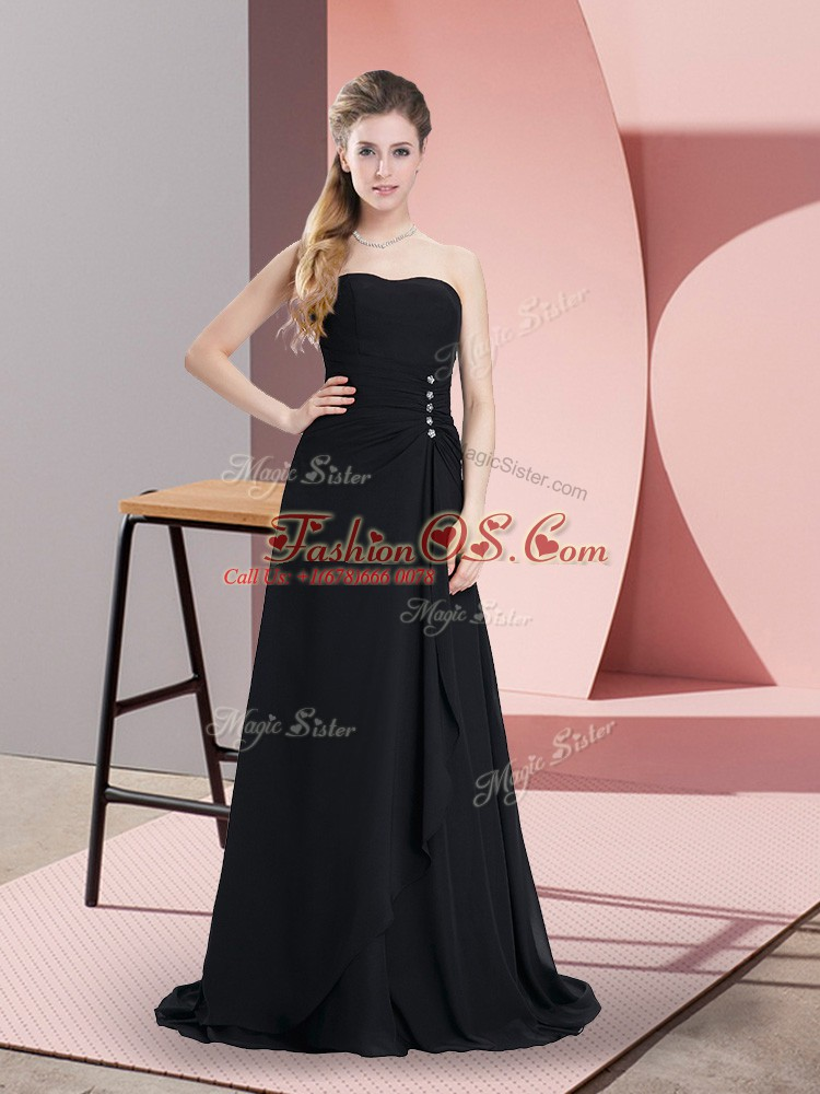 On Sale Sweetheart Sleeveless Chiffon Prom Gown Beading Lace Up