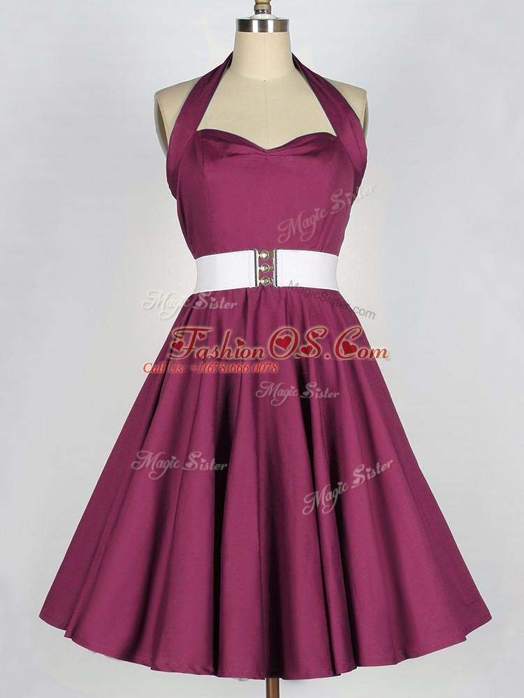 Dazzling Sleeveless Belt Lace Up Bridesmaid Dresses