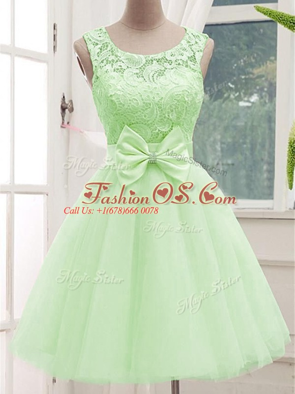 Affordable Scoop Sleeveless Damas Dress Knee Length Lace and Bowknot Yellow Green Tulle