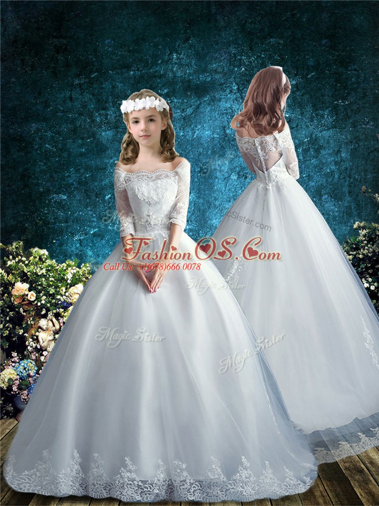 Noble White Off The Shoulder Neckline Lace Flower Girl Dresses for Less Half Sleeves Clasp Handle