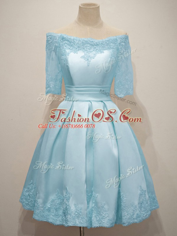 Light Blue A-line Lace Bridesmaids Dress Lace Up Taffeta Half Sleeves Knee Length