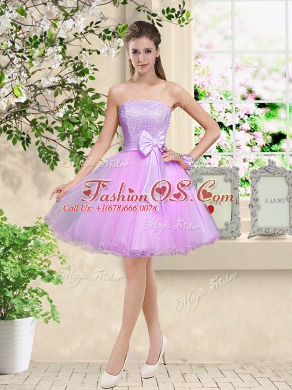 Lilac Organza Lace Up Off The Shoulder Sleeveless Knee Length Quinceanera Dama Dress Lace and Belt