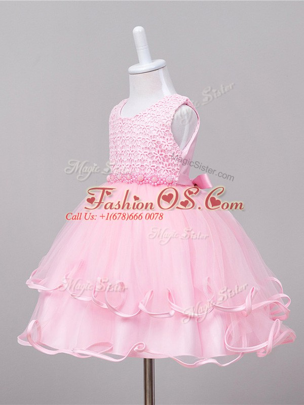 Inexpensive Ball Gowns Child Pageant Dress Baby Pink Scoop Tulle Sleeveless Knee Length Zipper