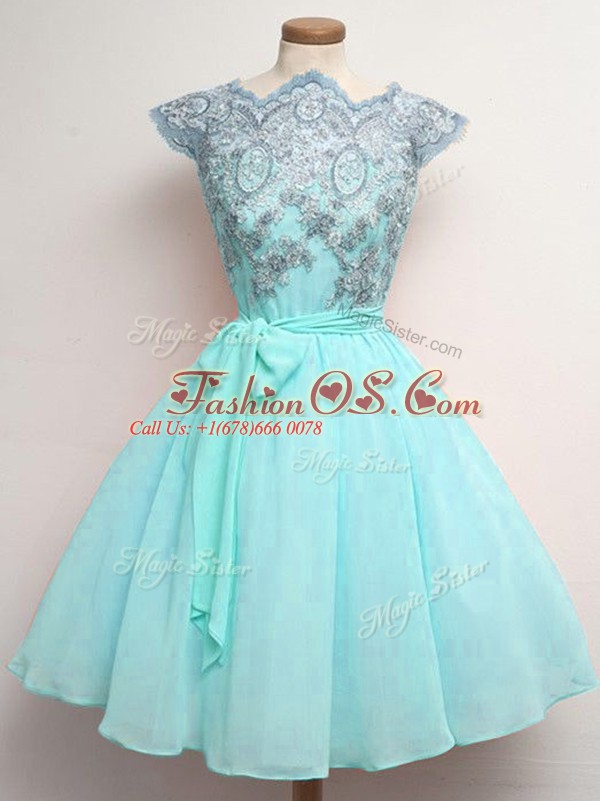 Fashionable Chiffon Cap Sleeves Knee Length Wedding Party Dress and Lace and Belt