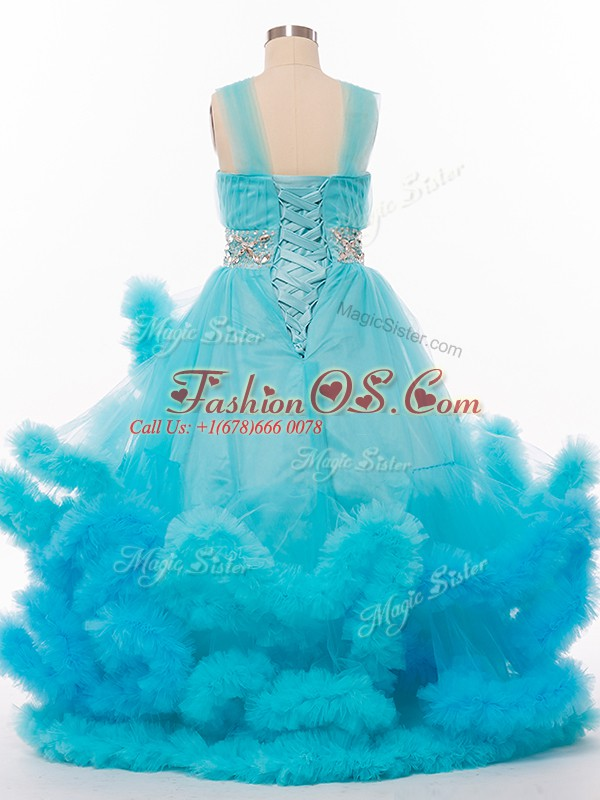 Tulle Sleeveless Floor Length Kids Formal Wear and Beading and Hand Made Flower