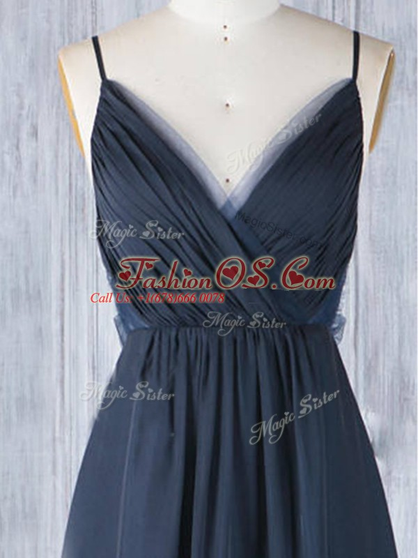 Custom Made Navy Blue Chiffon Backless Spaghetti Straps Sleeveless Floor Length Bridesmaid Gown Ruching