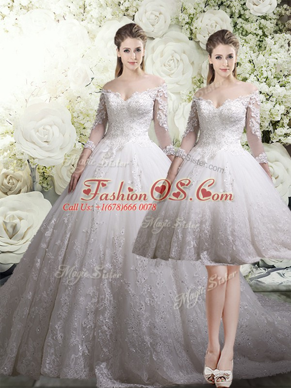 White Off The Shoulder Zipper Lace Wedding Gowns Chapel Train 3 4 Length Sleeve