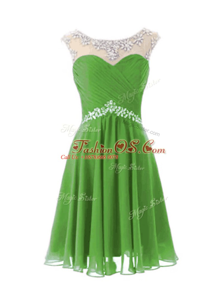 Elegant Chiffon Zipper Cap Sleeves Knee Length Beading