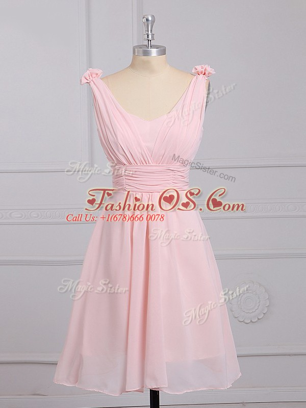 Perfect Straps Sleeveless Chiffon Bridesmaid Gown Hand Made Flower Lace Up