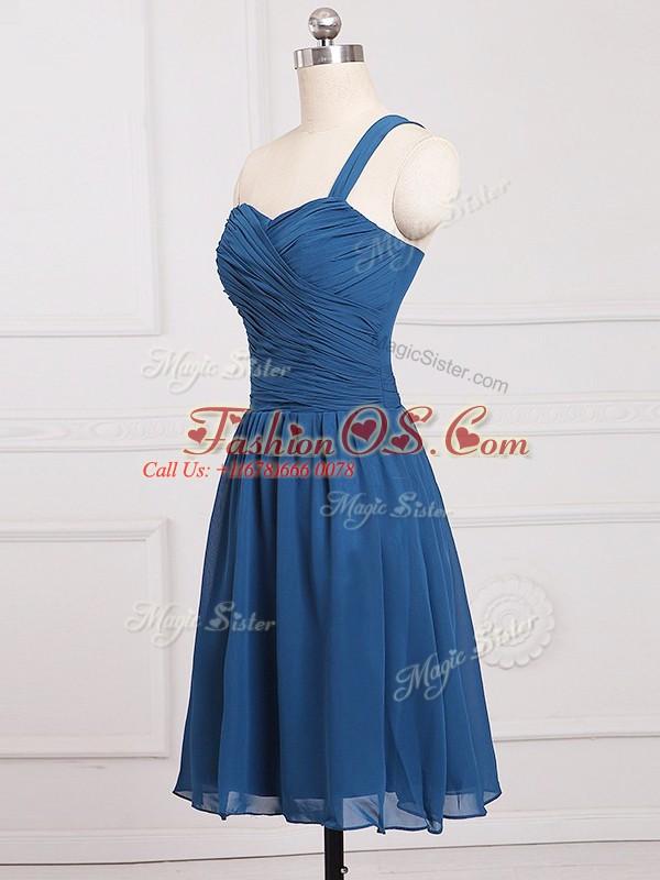 Blue Zipper Quinceanera Dama Dress Ruching Sleeveless Mini Length