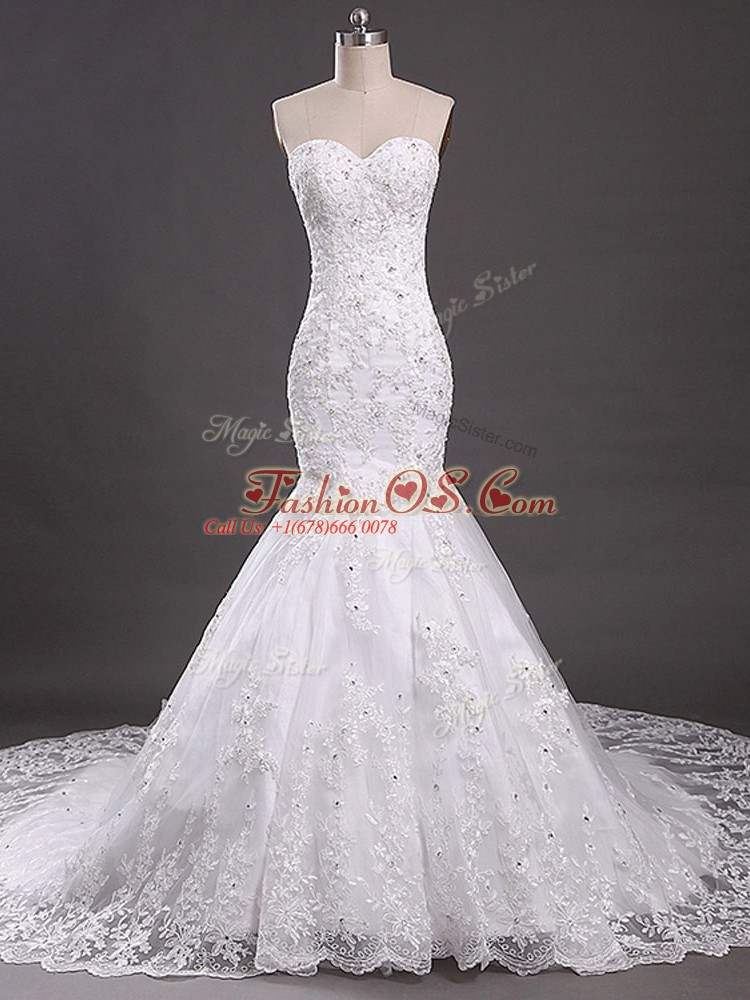 Luxurious White Mermaid Tulle Sweetheart Sleeveless Lace Lace Up Wedding Gown Court Train