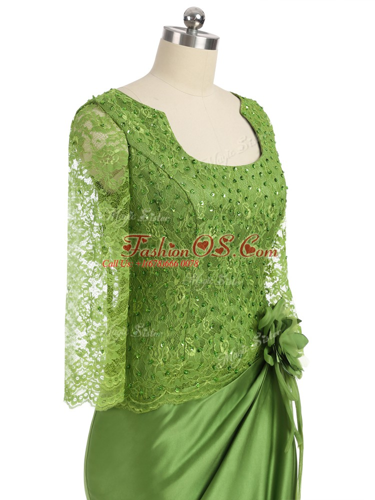 Olive Green Zipper Scoop Lace and Appliques and Hand Made Flower Mother Of The Bride Dress Elastic Woven Satin Long Sleeves