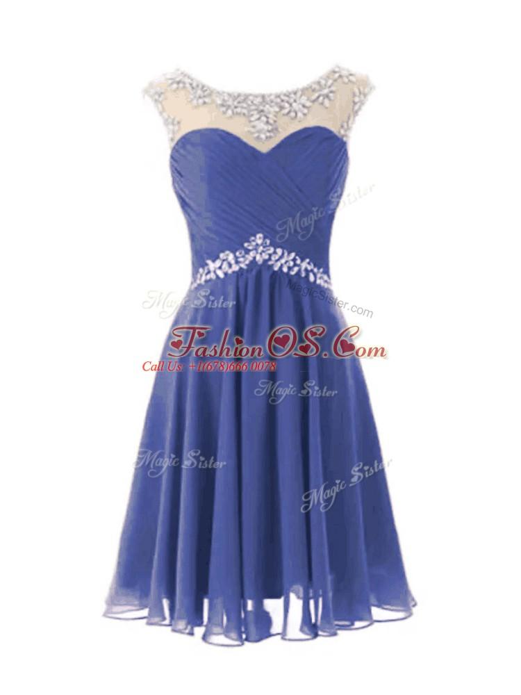 Blue Zipper Prom Party Dress Beading Cap Sleeves Knee Length