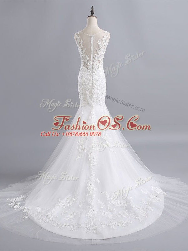 Smart Brush Train Mermaid Bridal Gown White Scoop Tulle Sleeveless Zipper