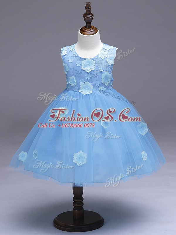 Admirable Light Blue Sleeveless Tulle Zipper Little Girls Pageant Dress for Wedding Party