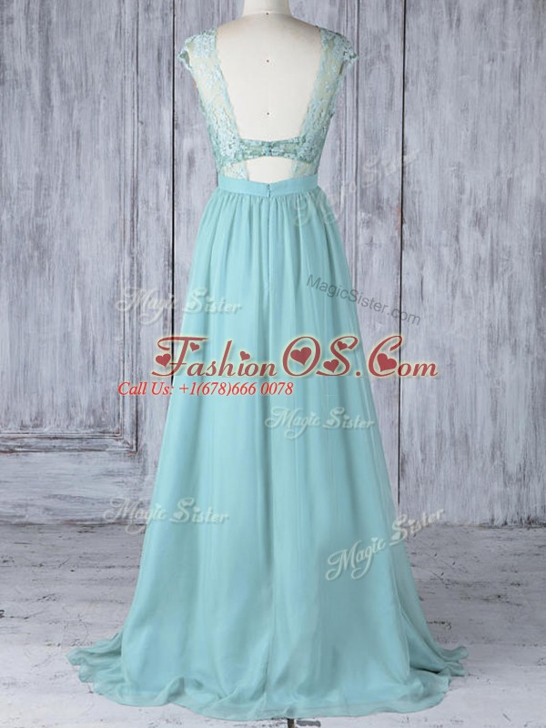 Delicate Aqua Blue Cap Sleeves Lace Backless Bridesmaid Dress