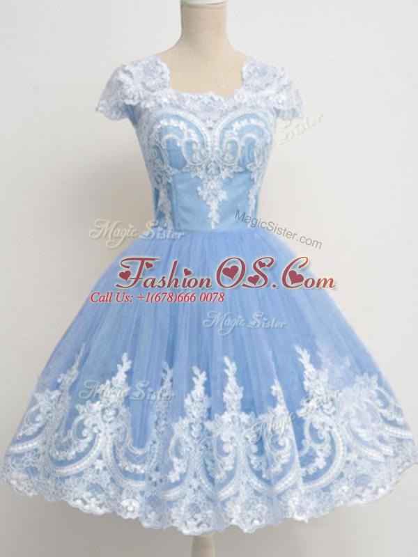 Lace Damas Dress Light Blue Zipper Cap Sleeves Knee Length