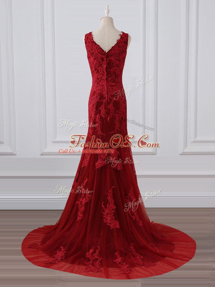 Affordable Red Mother Of The Bride Dress Lace Brush Train Sleeveless Lace and Appliques