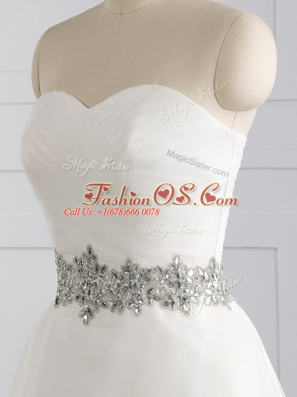 Ideal White Wedding Gowns Sweetheart Sleeveless Brush Train Lace Up