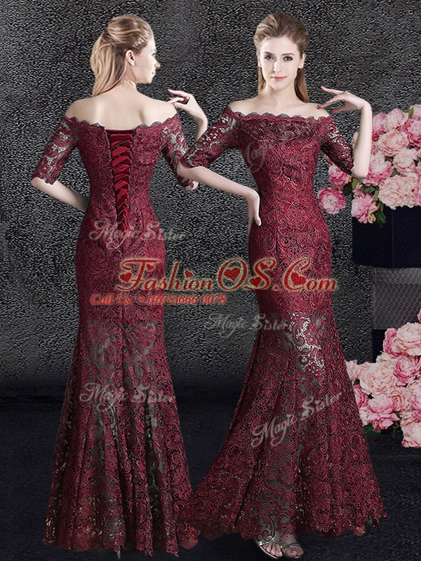 Colorful Mermaid Mother Of The Bride Dress Wine Red Off The Shoulder Lace Half Sleeves Floor Length Lace Up