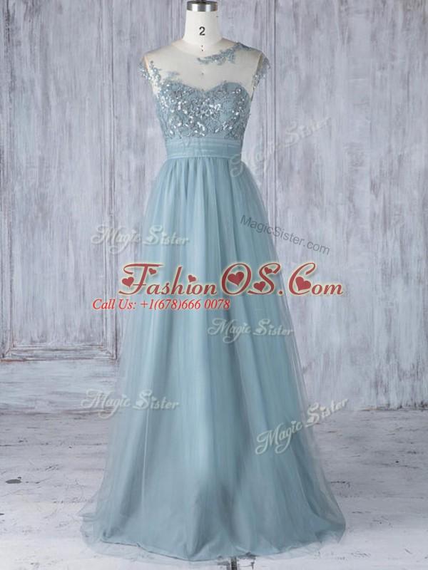 Glittering Tulle Scoop Cap Sleeves Zipper Appliques Bridesmaid Dress in Grey