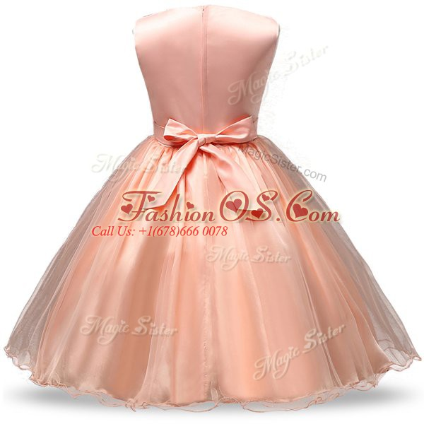 Scoop Sleeveless Flower Girl Dresses Knee Length Belt and Hand Made Flower Hot Pink Organza and Sequined