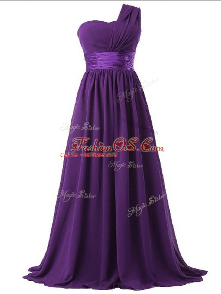 Perfect Empire Damas Dress Purple One Shoulder Chiffon Sleeveless Floor Length Lace Up