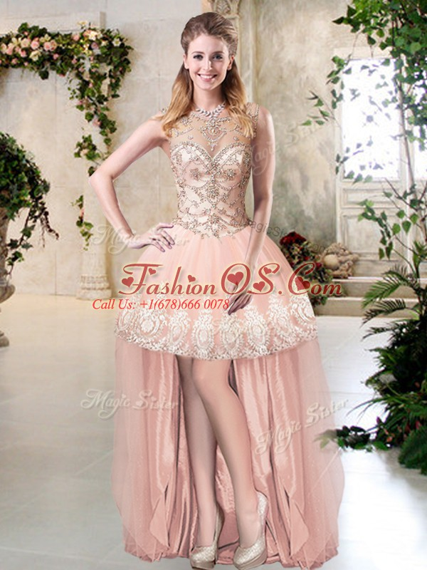 Edgy High Low Peach Military Ball Gown Tulle Sleeveless Beading and Lace and Appliques