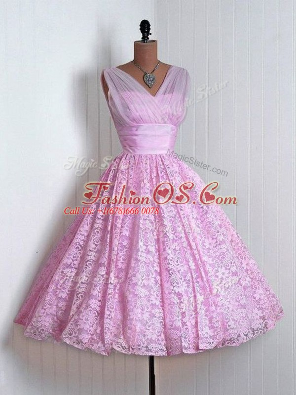 Mini Length A-line Sleeveless Lilac Quinceanera Court of Honor Dress Lace Up