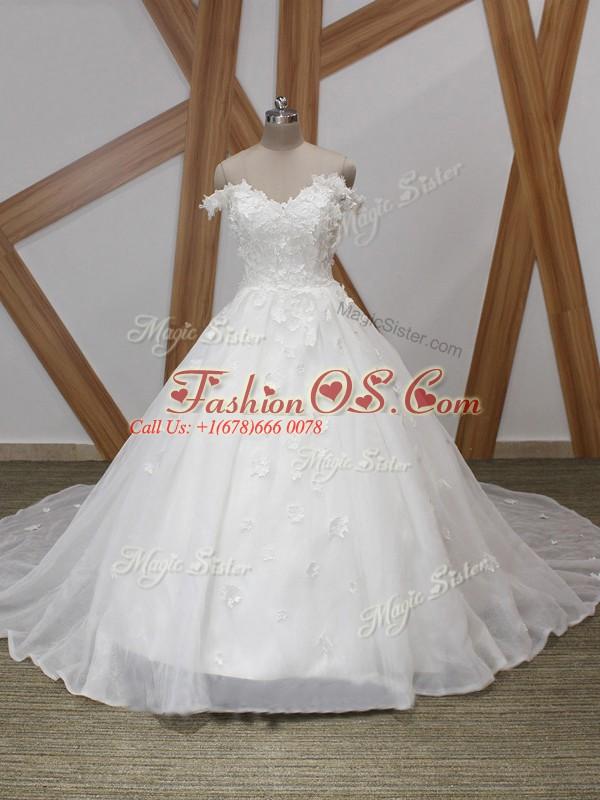 Excellent White Wedding Dress Organza Court Train Sleeveless Appliques