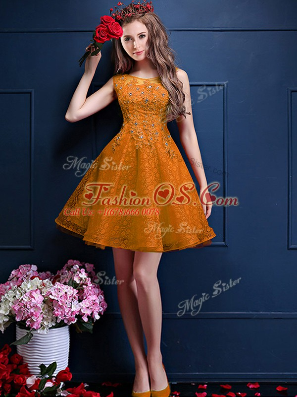 Gold Sleeveless Beading and Lace Knee Length Bridesmaid Dress