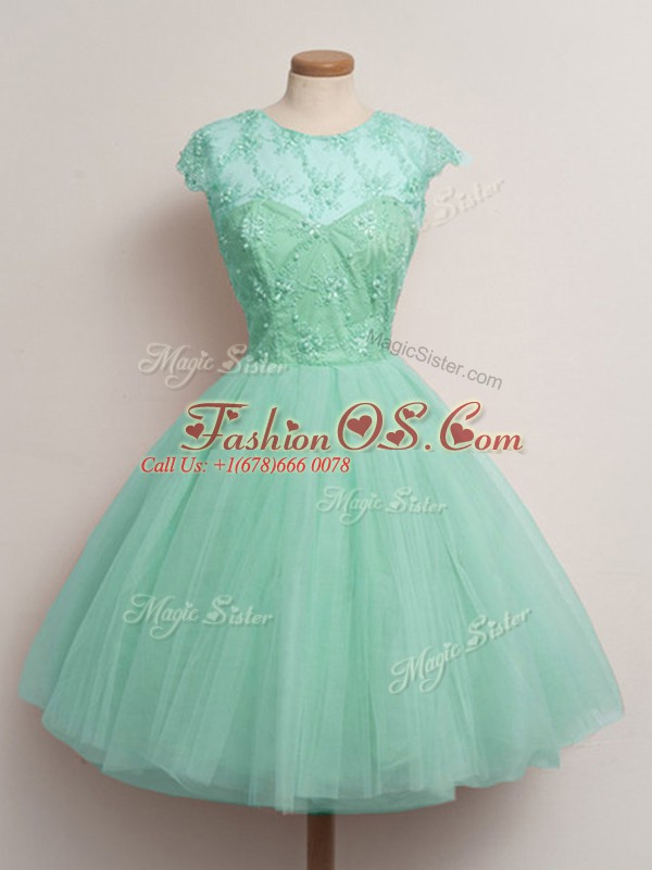 Perfect Cap Sleeves Lace Up Knee Length Lace Wedding Guest Dresses