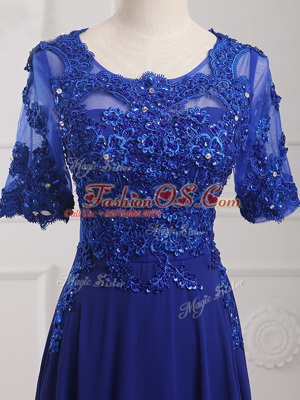 Half Sleeves Floor Length Lace and Appliques Zipper Mother Of The Bride Dress with Royal Blue