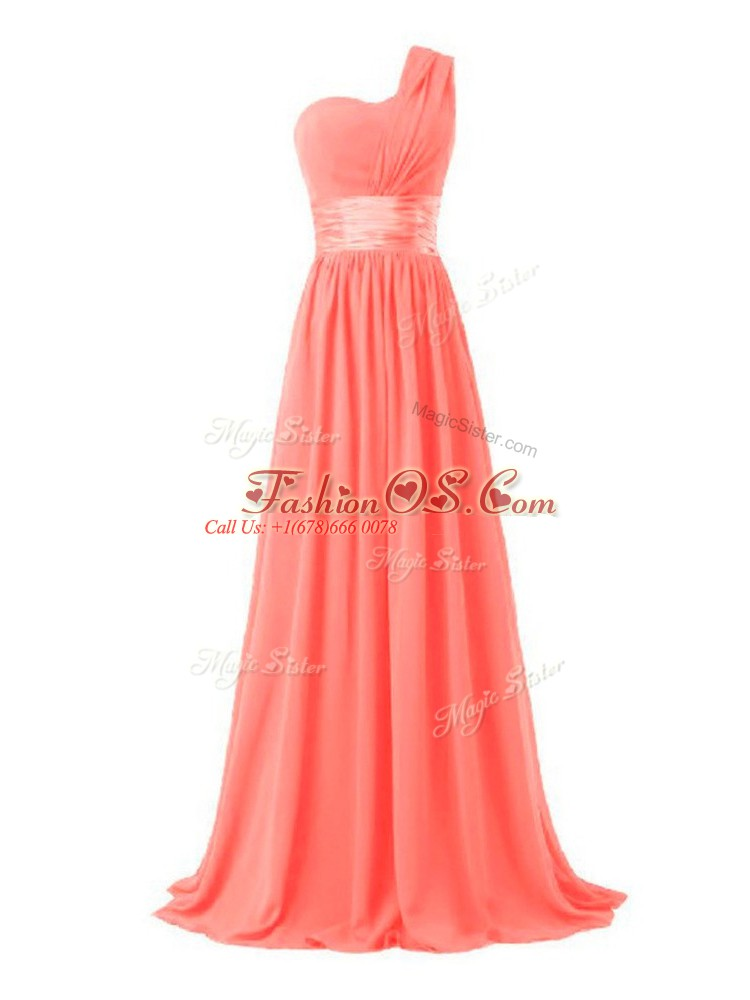 Watermelon Red Sleeveless Floor Length Ruching Lace Up Quinceanera Court Dresses