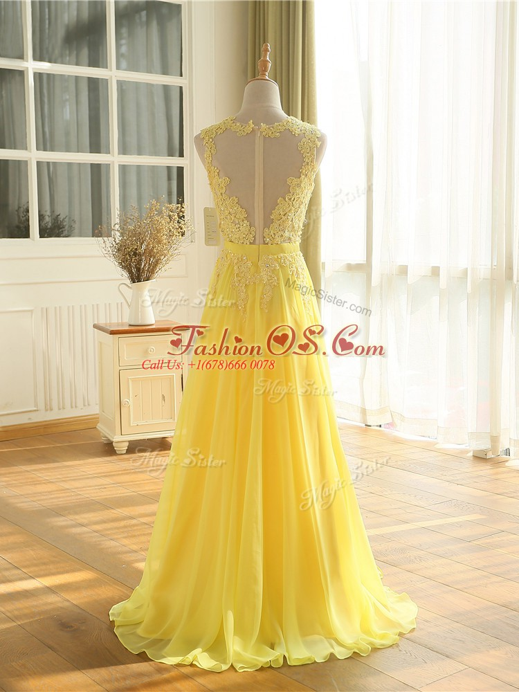 Wonderful Yellow Zipper Evening Outfits Lace and Appliques Sleeveless Floor Length