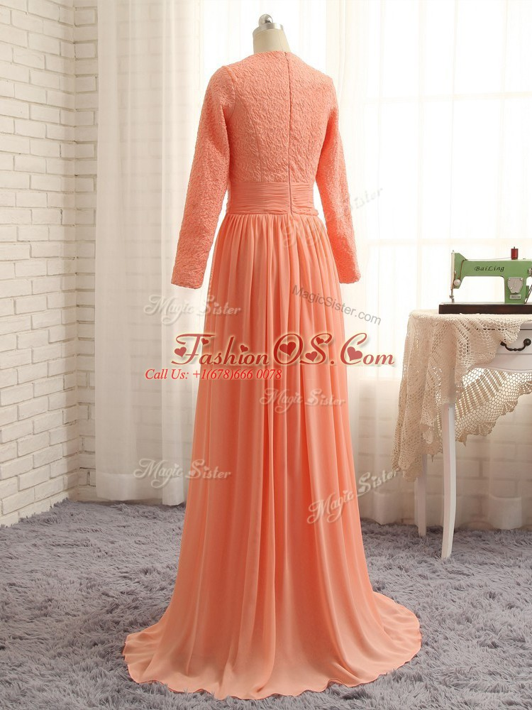 Vintage Chiffon Long Sleeves Floor Length Mother Of The Bride Dress and Lace