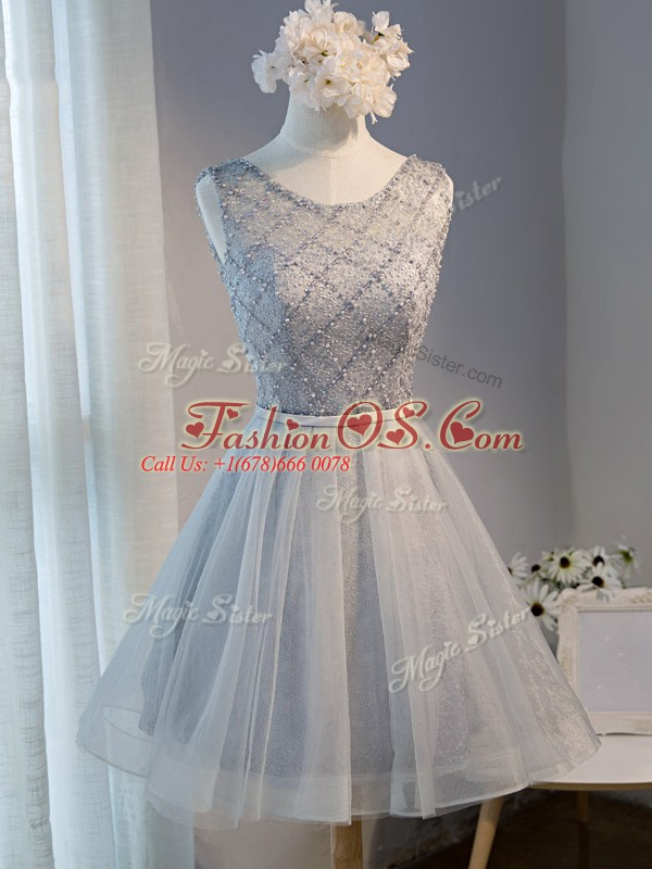Elegant Grey A-line Scoop Sleeveless Tulle Mini Length Lace Up Beading Evening Dress