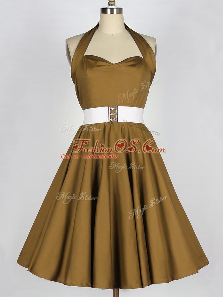 Brown Lace Up Halter Top Belt Dama Dress Taffeta Sleeveless